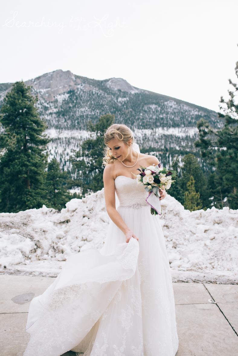 colorado wedding photographer, winter estes park wedding, winter wedding, wedding flowers, bride photos