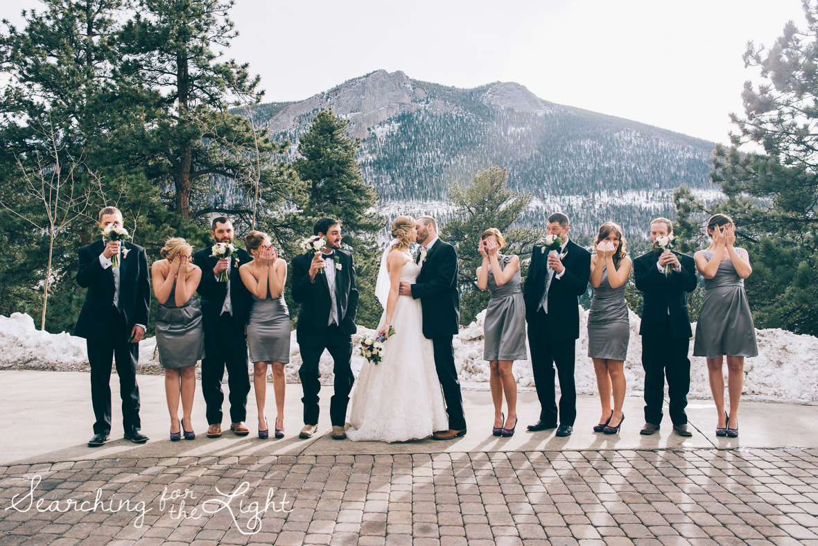 colorado wedding photographer, winter estes park wedding, winter wedding, fun wedding party photos