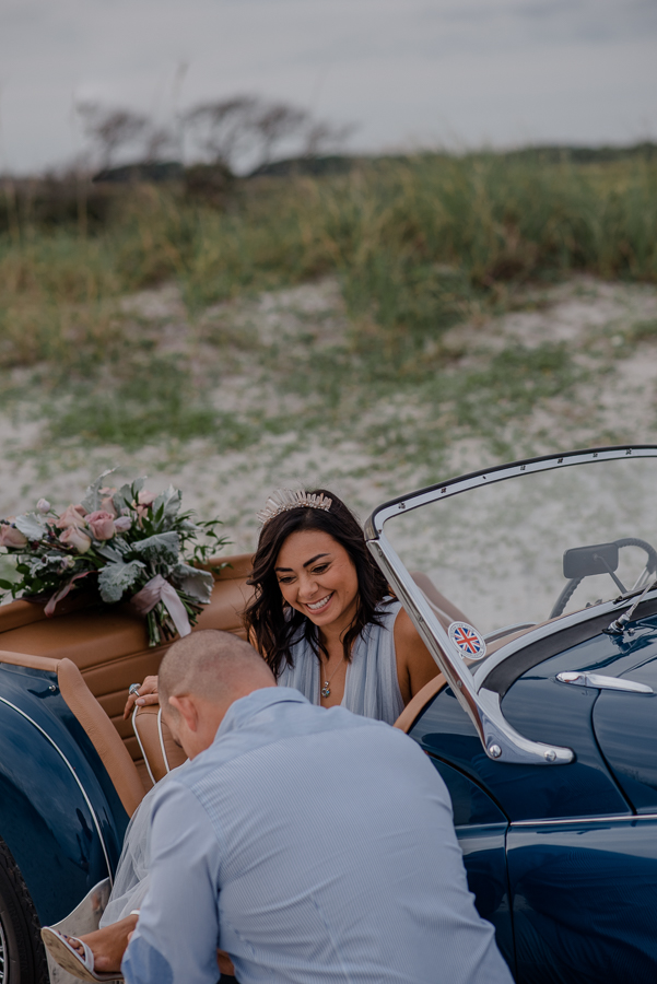 Destination Anniversary Celebration { Folly Beach Charleston, South Carolina Couple Photography | Andrea & Gustavo} | Vintage Car and High Fashion