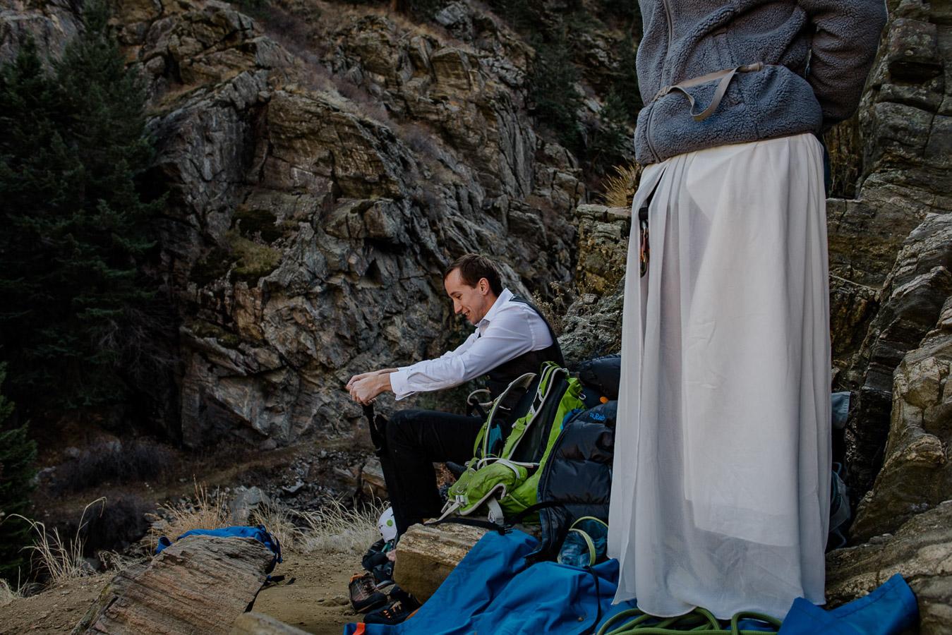 Rock Climbing Adventure Elopement {Lauren & Zak Adventurous Colorado Destination Elopement} | Clear Creek Canyon Capitalist Crag