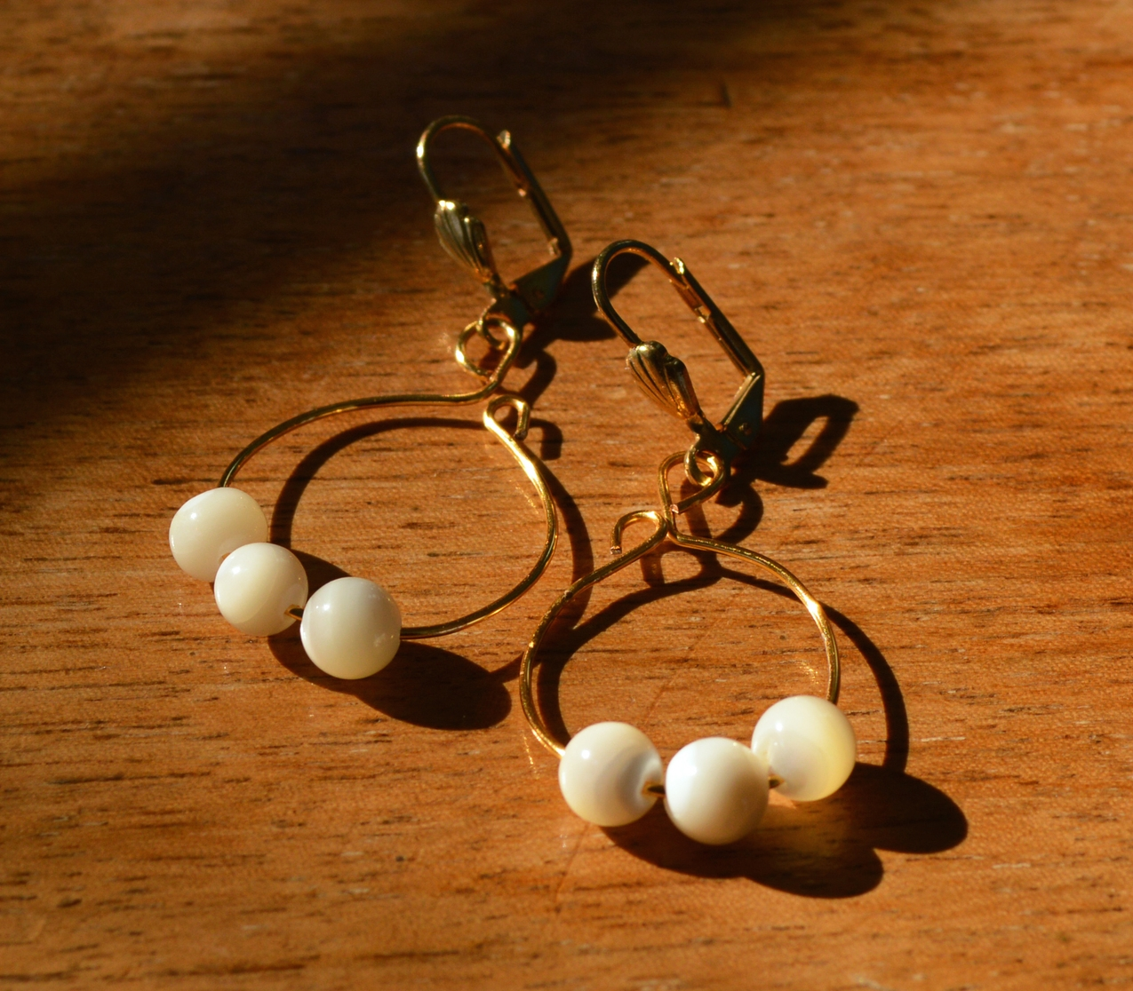 Mother of Pearl on Gold Wire Earrings