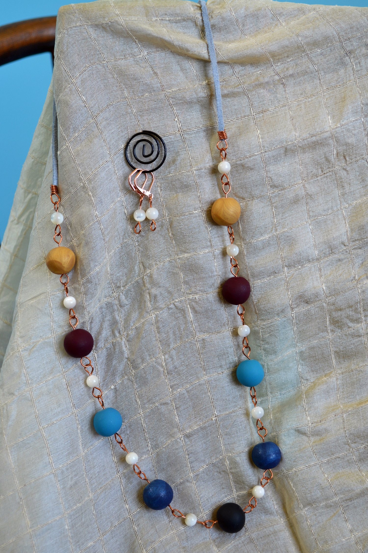 Multi Color Beaded Necklace w/ Matching Earrings