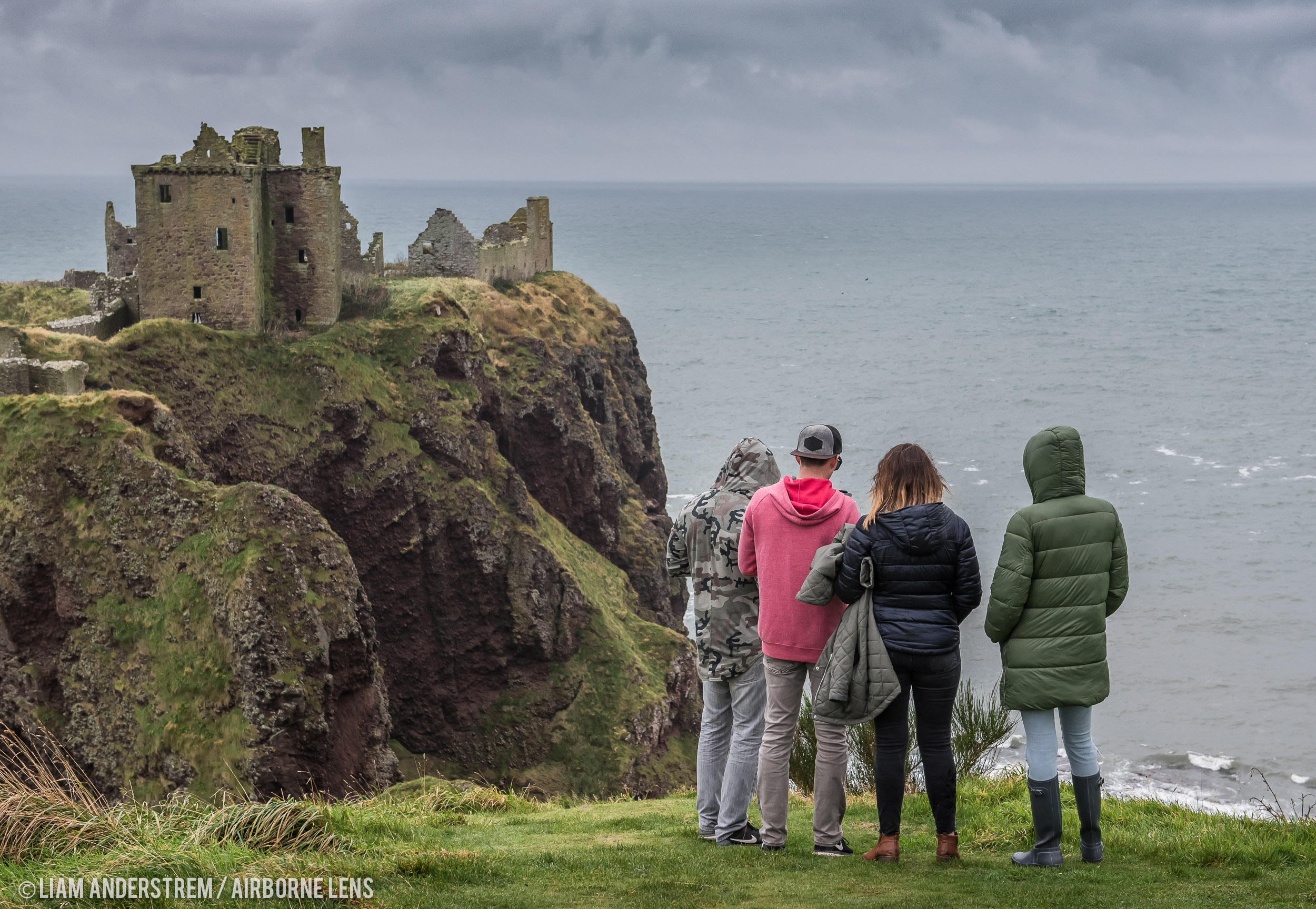 Team SuperTramp looking across at Dunnottar Castle.
