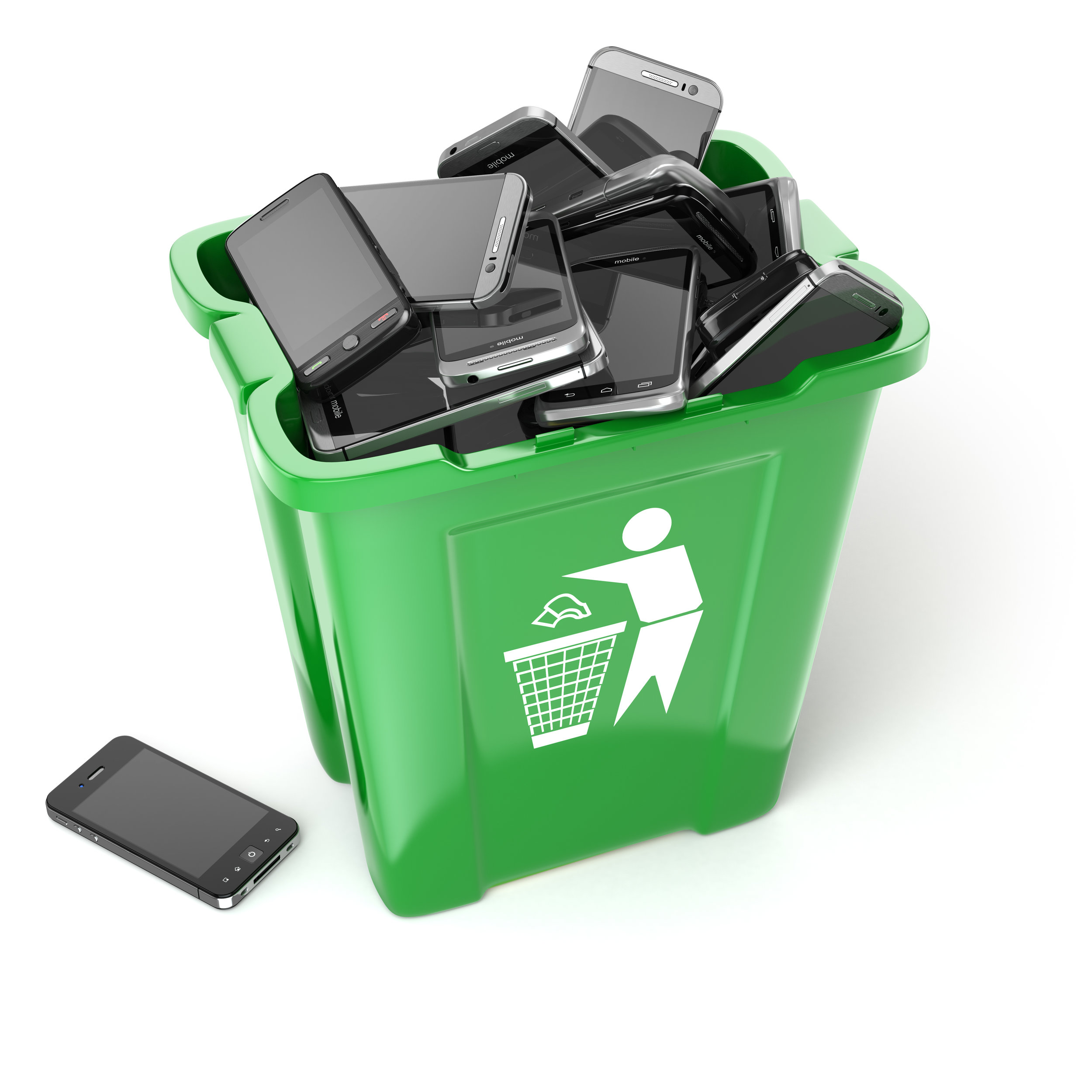 Mobile phones in garbage can isolated on white background. Utili