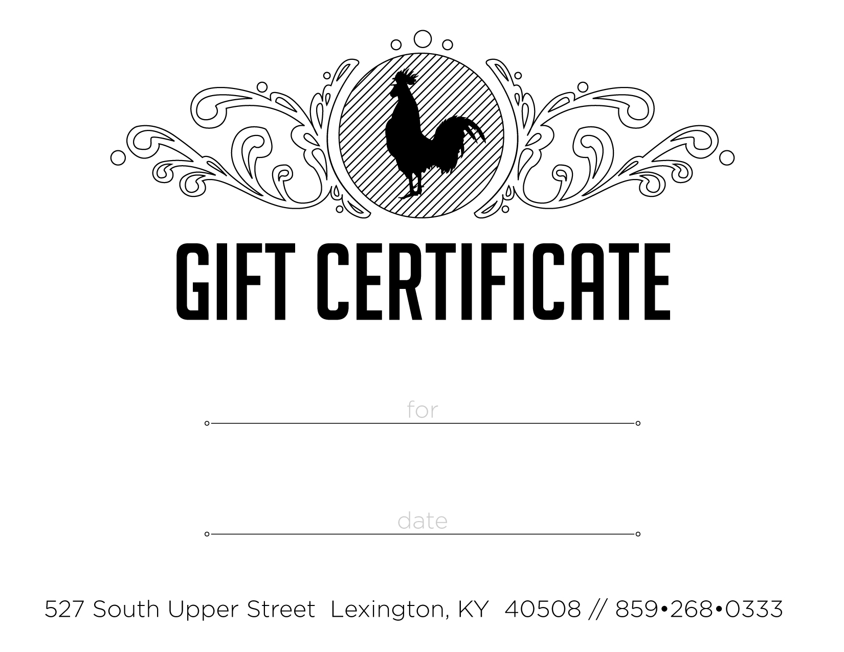 Rooster's Nest Gift Certificate