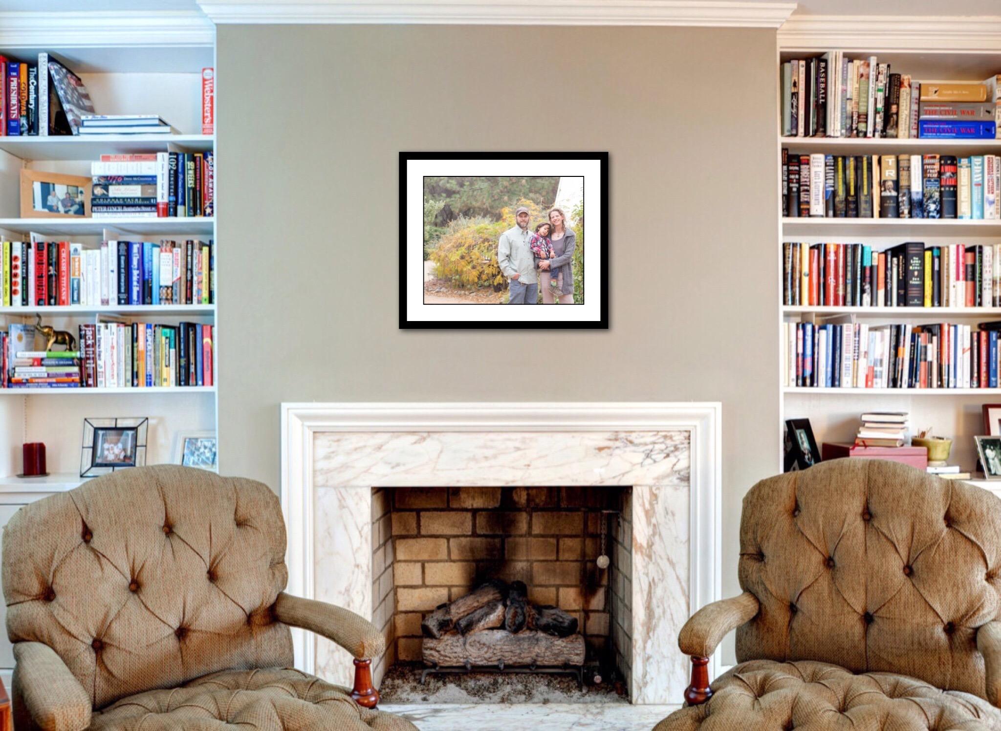 client images custom artwork over fireplace | Placerville-Children-Photographer