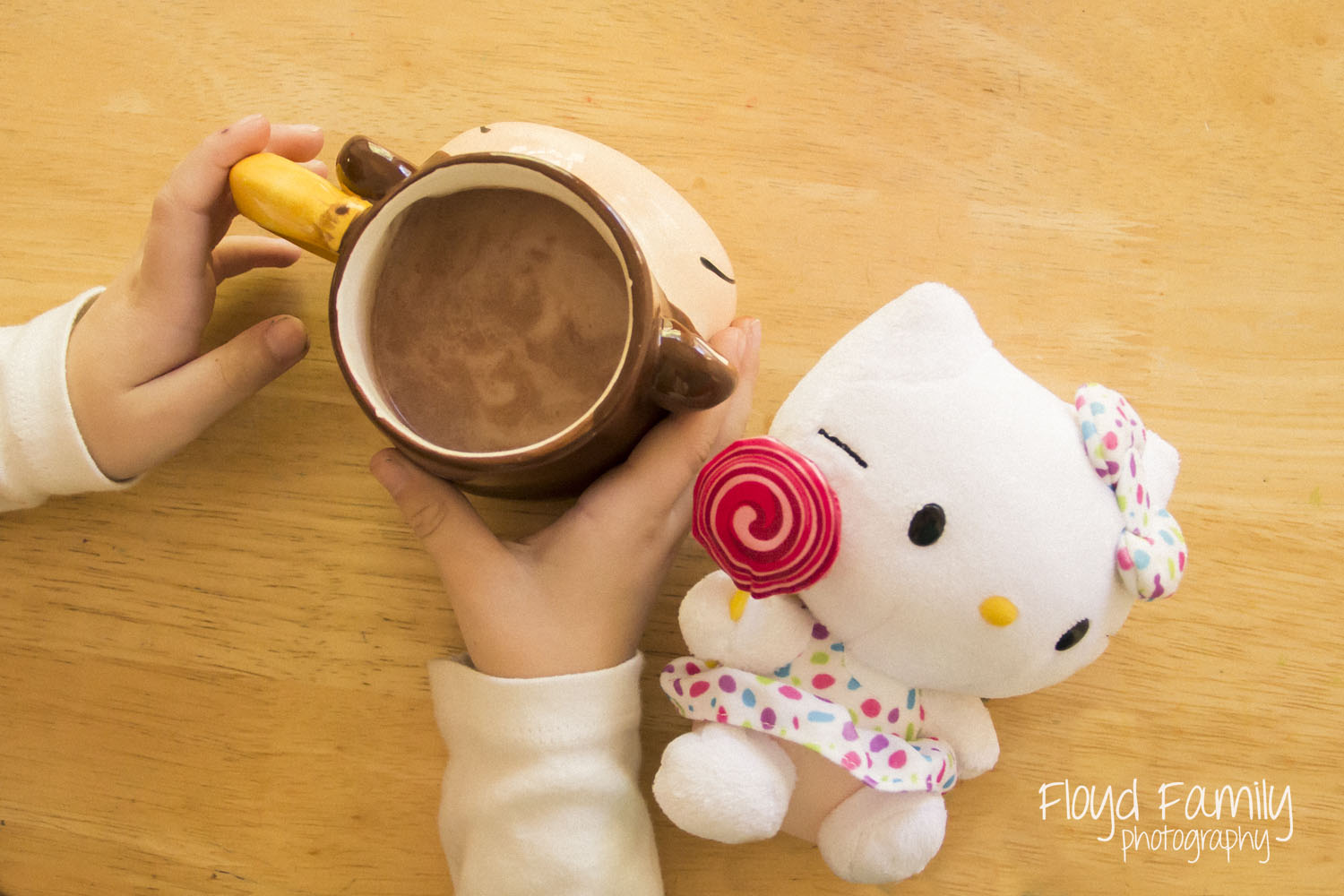 hot chocolate with hello kitty   Placerville-Children-Photographer