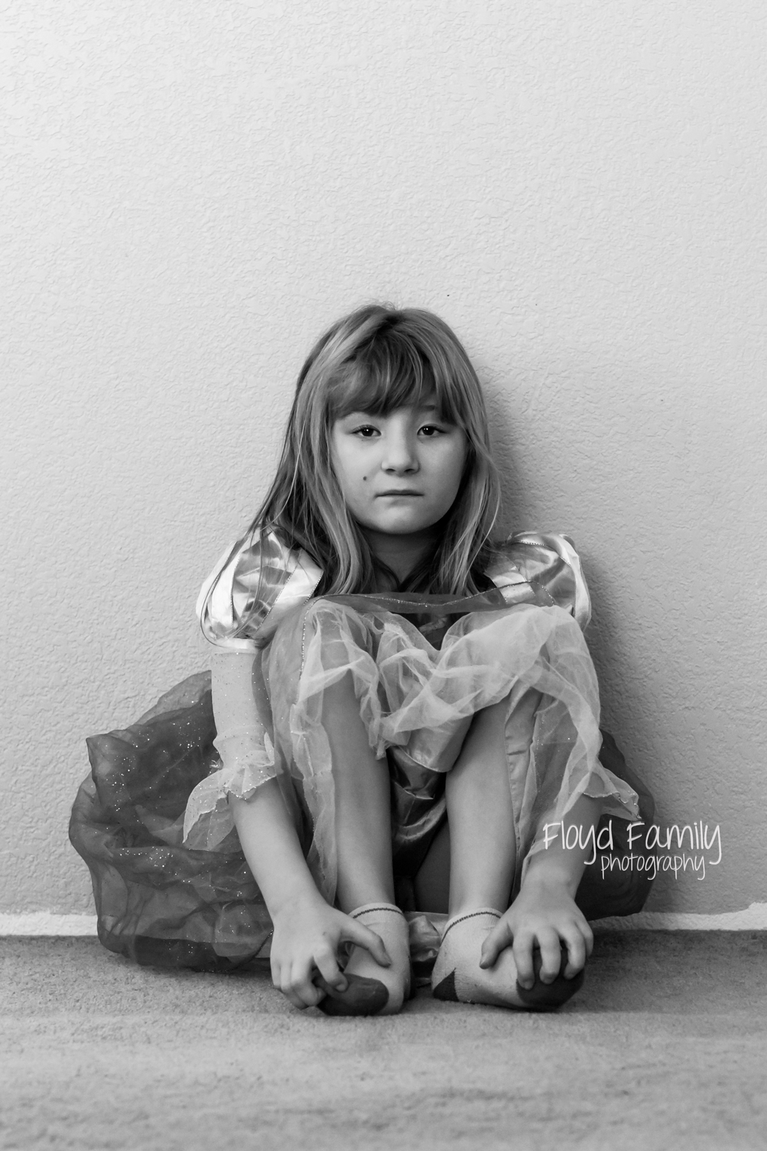 beautiful girl sitting on floor in princess costume | Placerville-Children-Photos