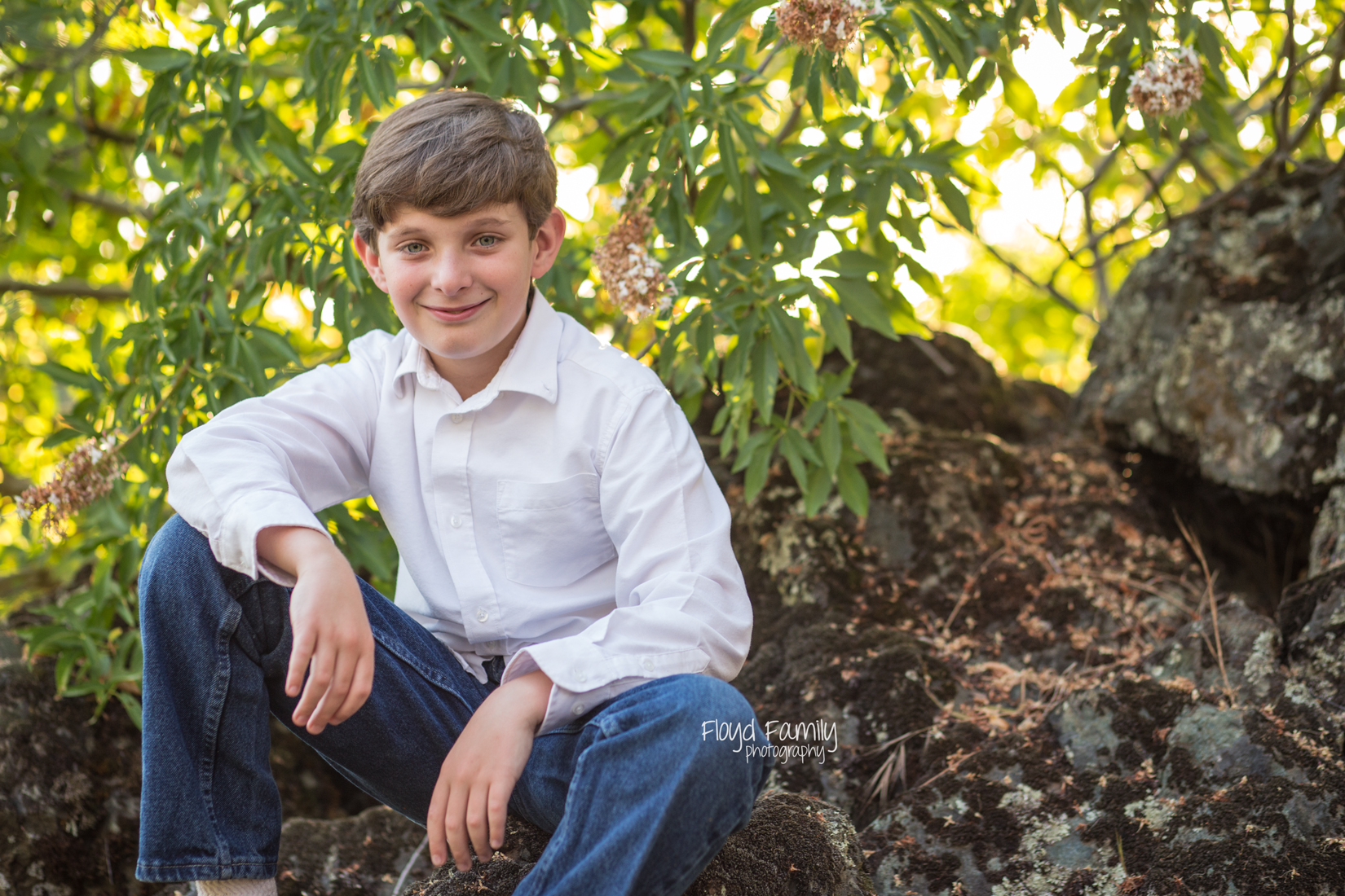 young boy sitting on rocks with overhanging trees | Placerville-Children-Photography