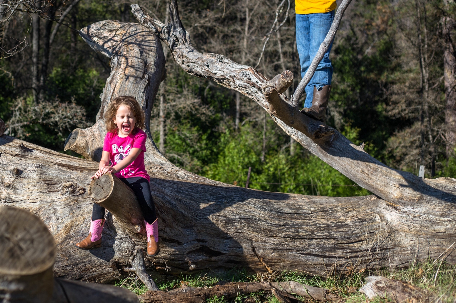 Girl sitting on log above ground crying because she is scared of heights