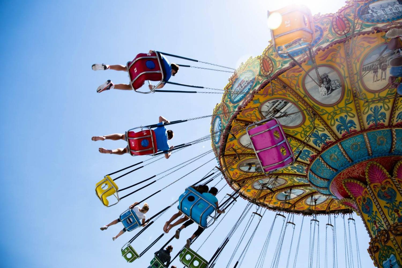 Kids riding the swings at the amusement park in Santa Cruz