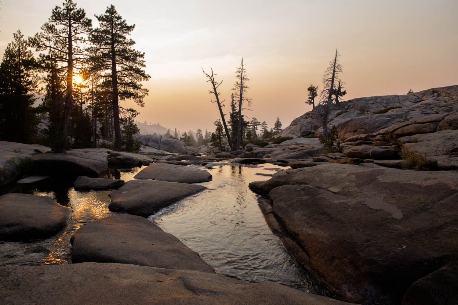 Picture of smoke in the mountains at Pot Holes in Lake Tahoe