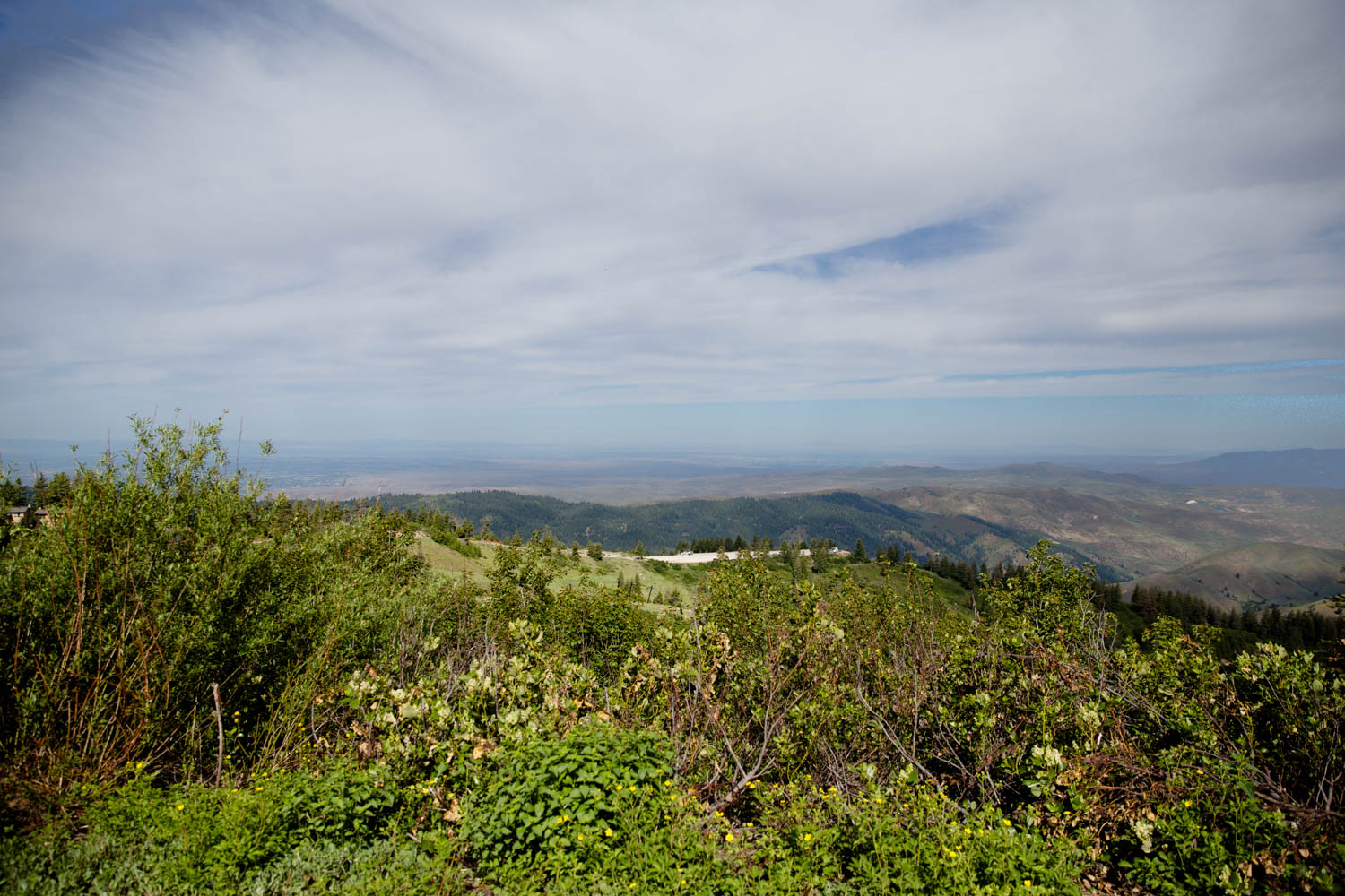 View of the foothills from Bogus Basin while hike with family in the summer