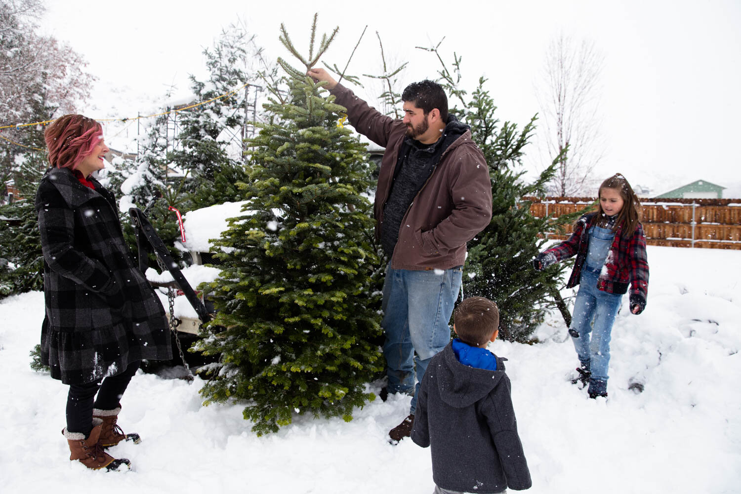 Family picking out their Christmas tree at a lot in Boise ID, seeing how tall it is compared to dad who is holding it up.