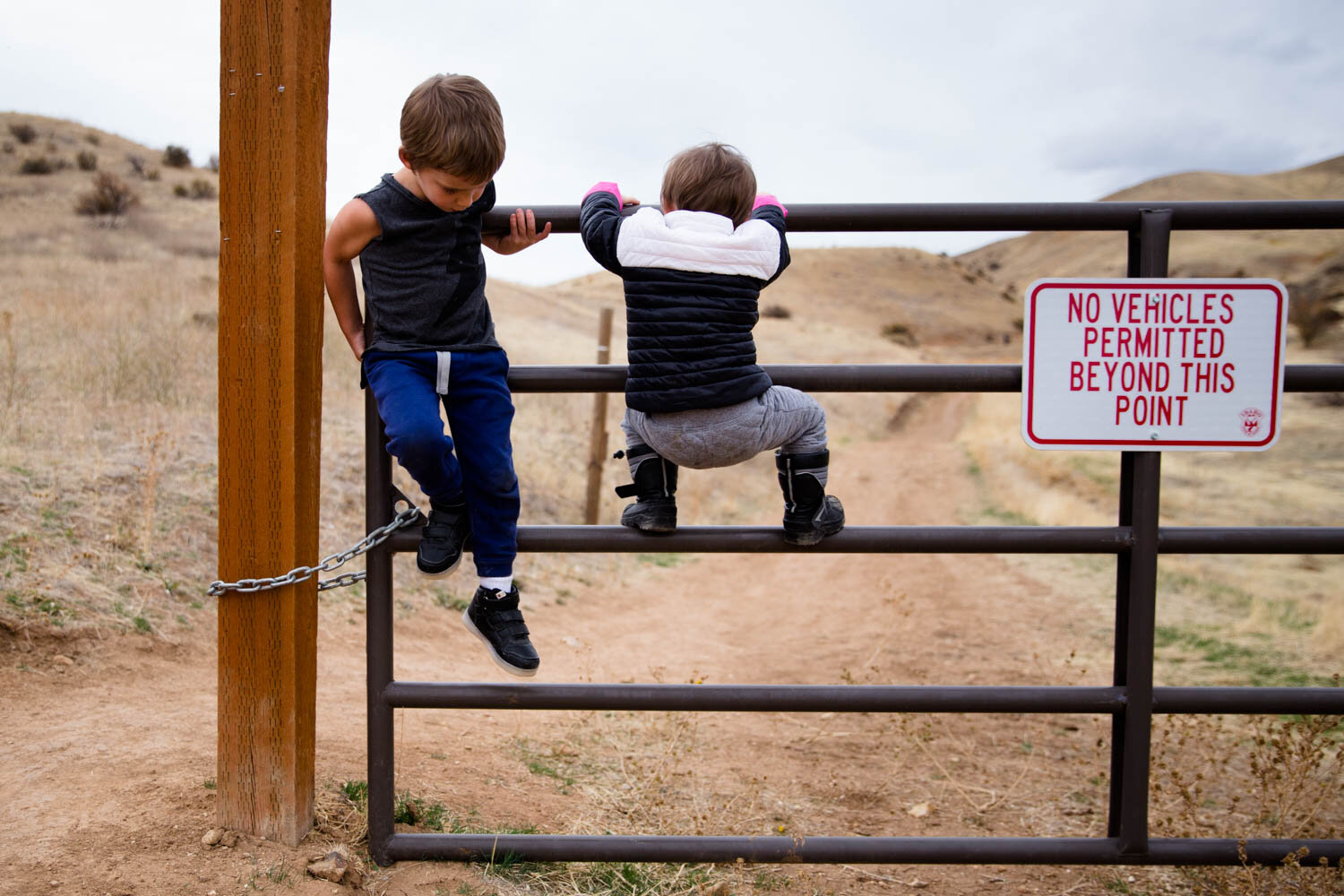 Two small kids climbing a fence at Homestead Trail in Boise ID