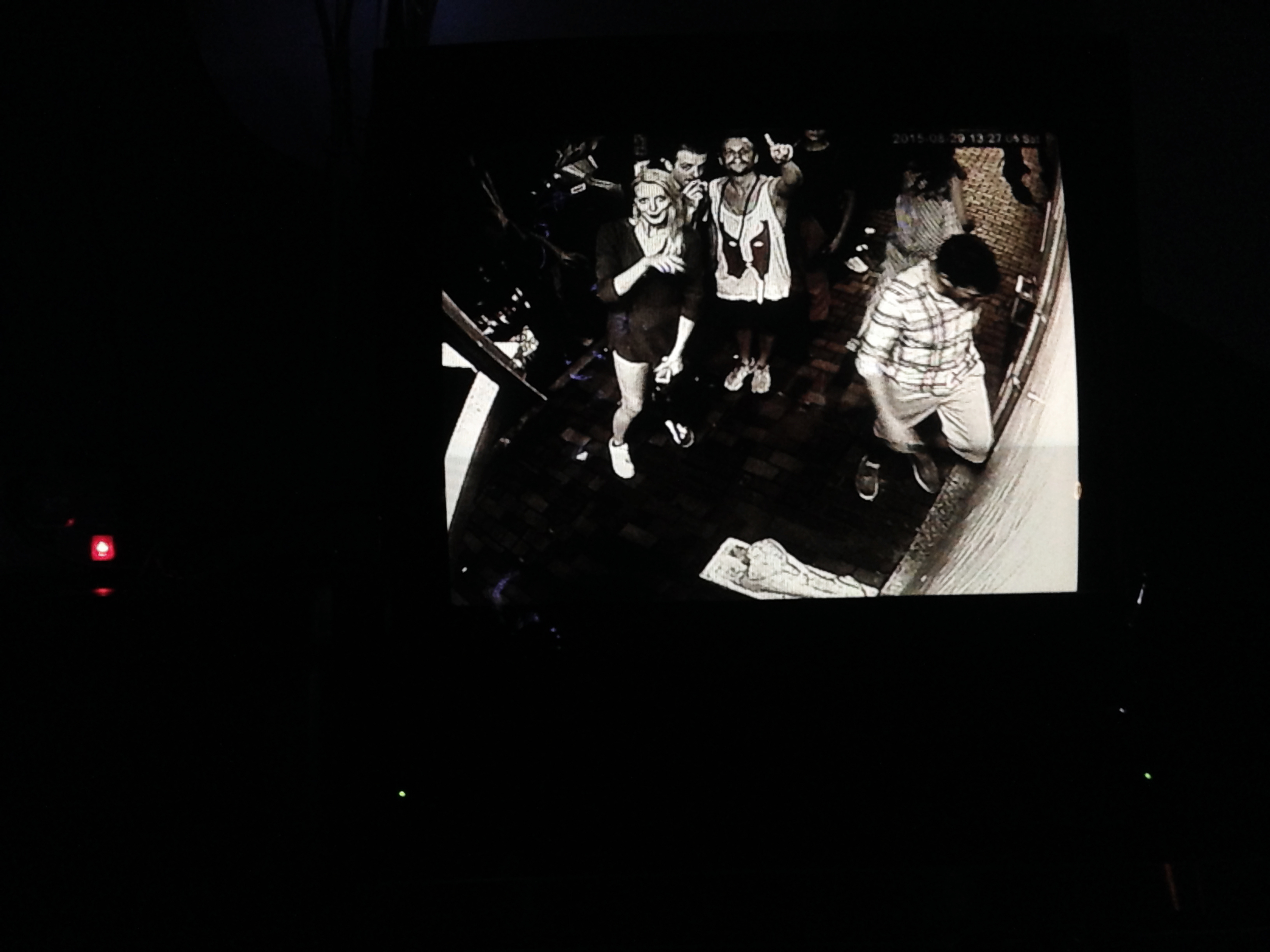 First night out with the exchange student crew. Here captured on surveillance camera on our way into The Premium Sofa Club.