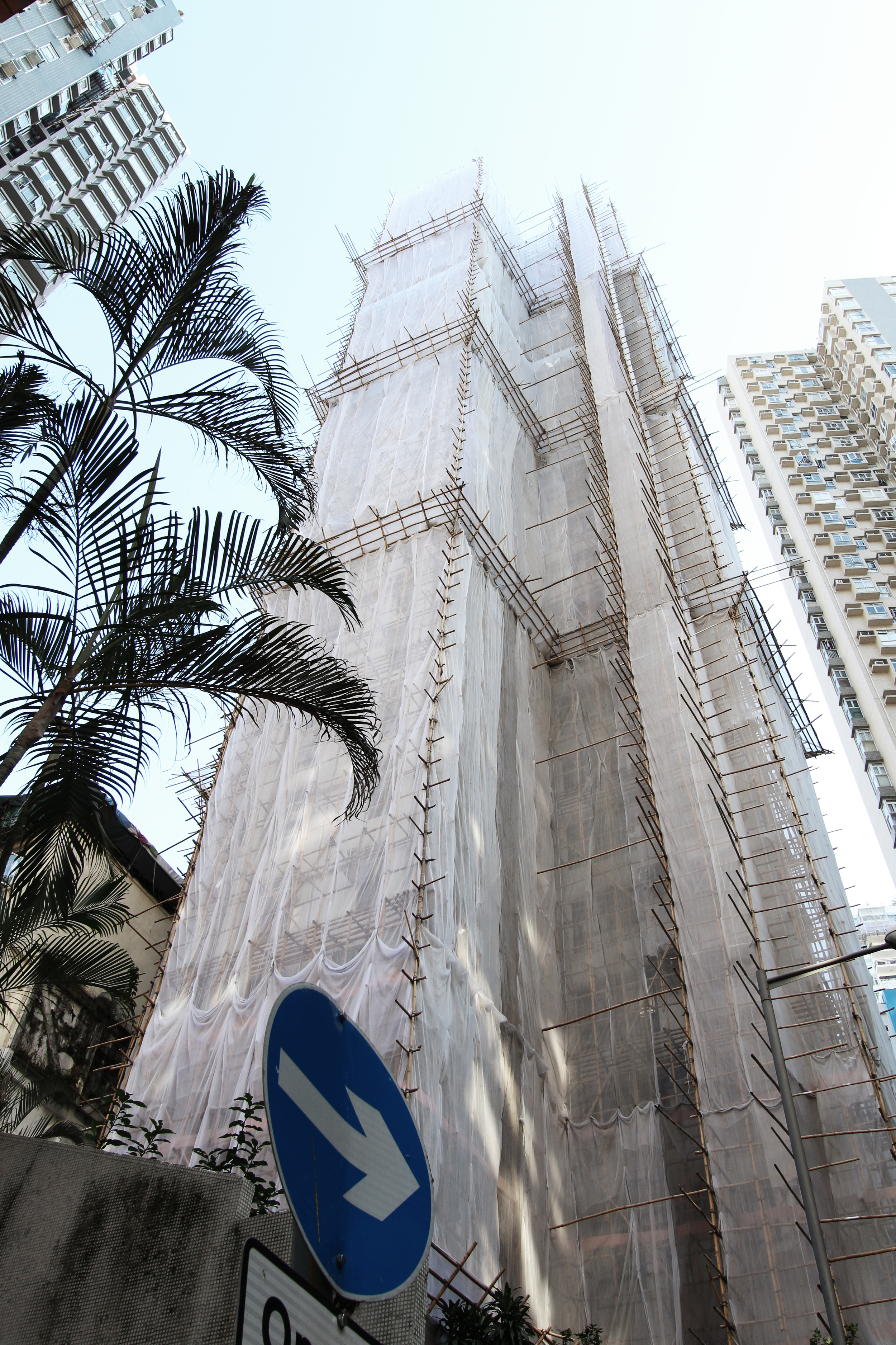 The bamboo scaffolding is preferred for construction work. It's amazing