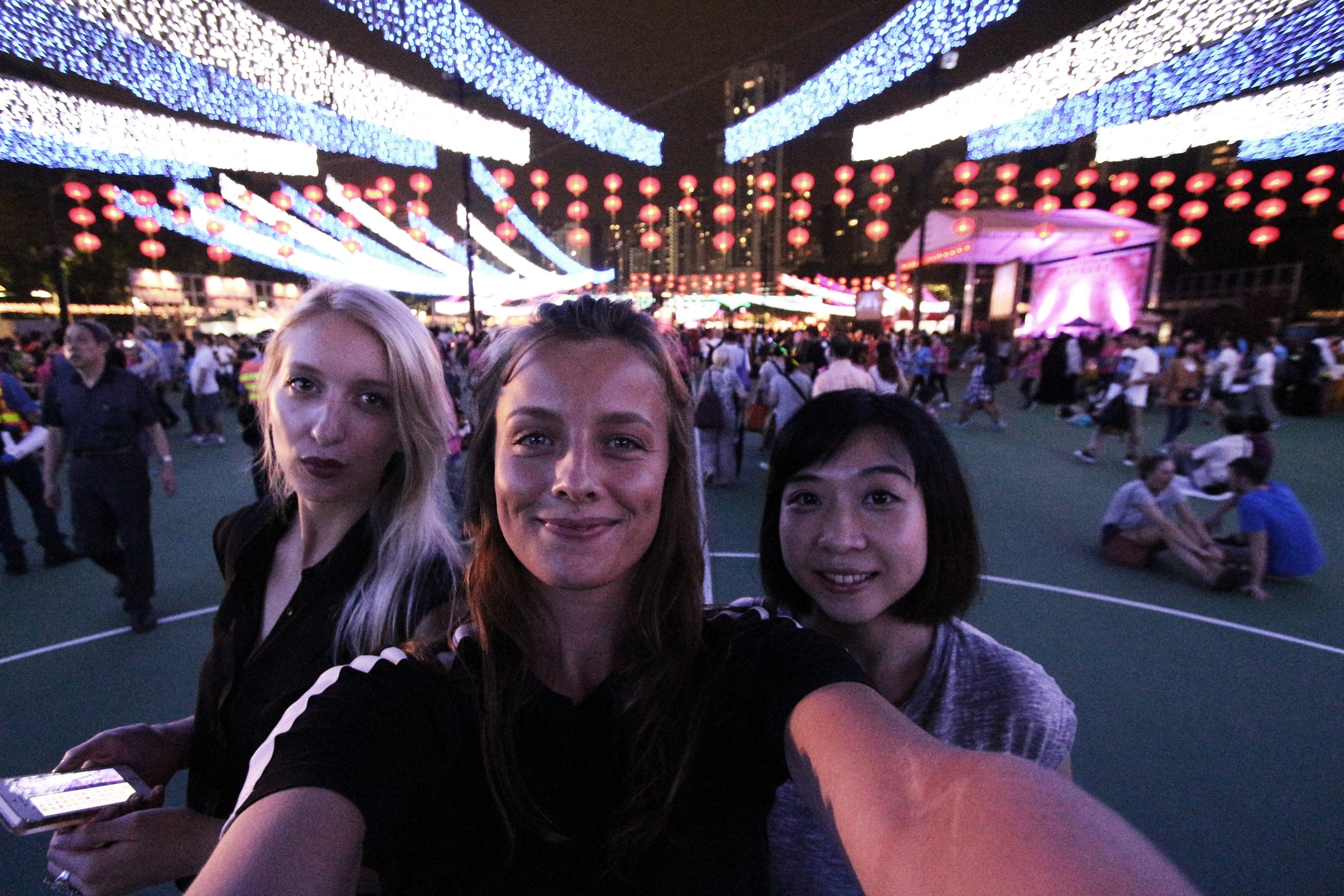 Groupfie in the big MidAutumn Festival venue; with Elene and Molly