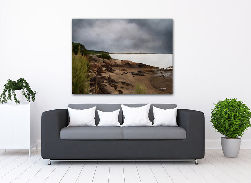 """A View From A Maine Beach"" shown in a room setting."