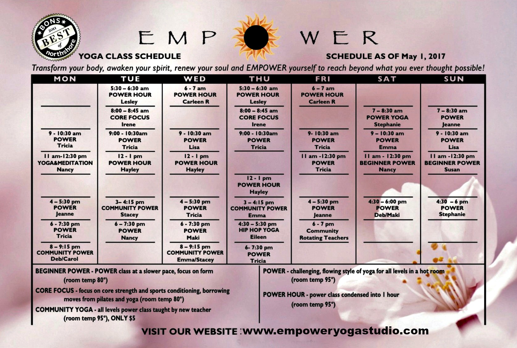Our Pretty & New Schedule | Beginning May 1st — Empower Yoga