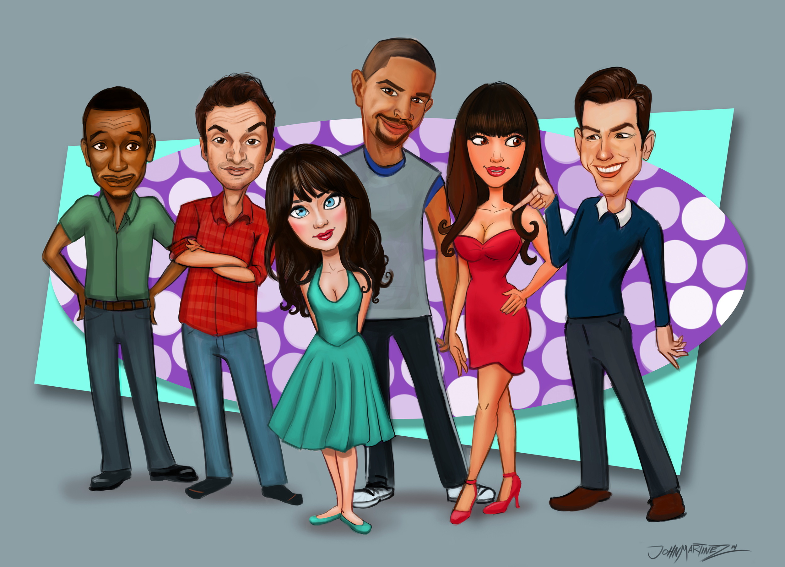 New Girl cast painting
