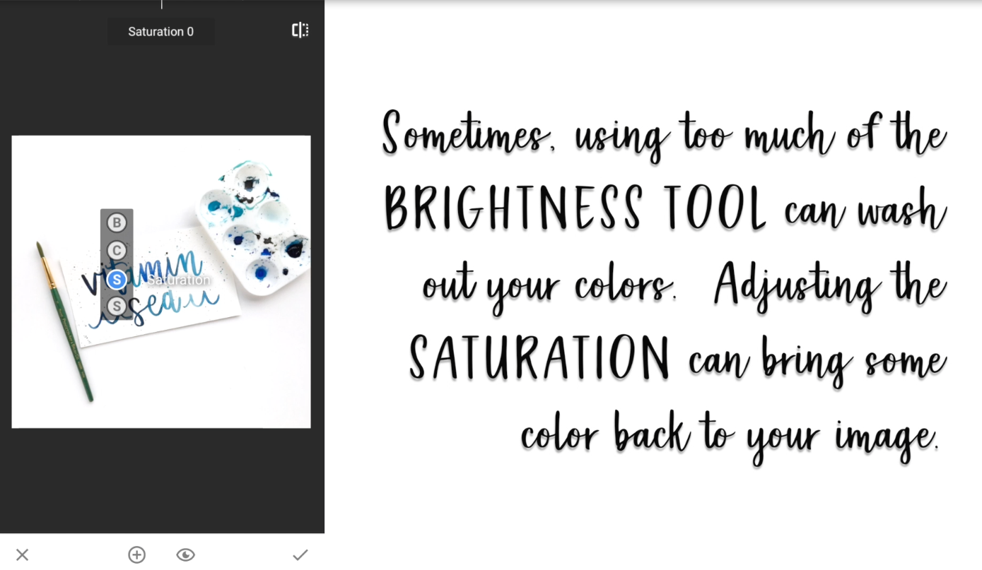 Try not to brighten the image too much or your lettering will start to disappear into the background.  You can always go back and turn down the brightness or click on the X to start over if your image is starting to look a little too crazy.
