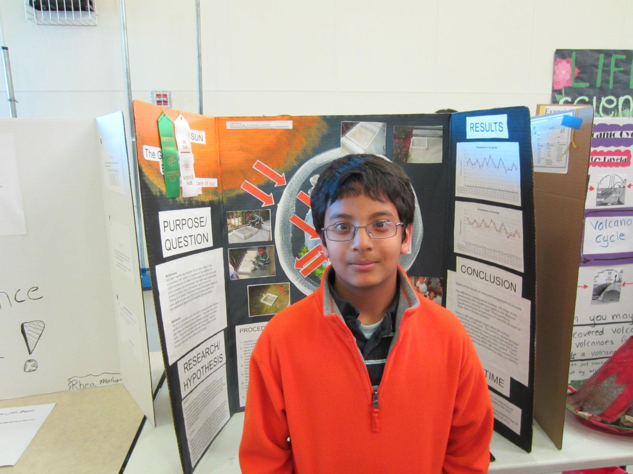 """His motivation to think about understanding the Global warming comes from - The documentary """"Inconvenient Truth"""" Natural progression towards being inquisitiveness from what he sees from Life - He received a 3rd Place (confidence Booster) for more challenges ahead in Middle and High School."""