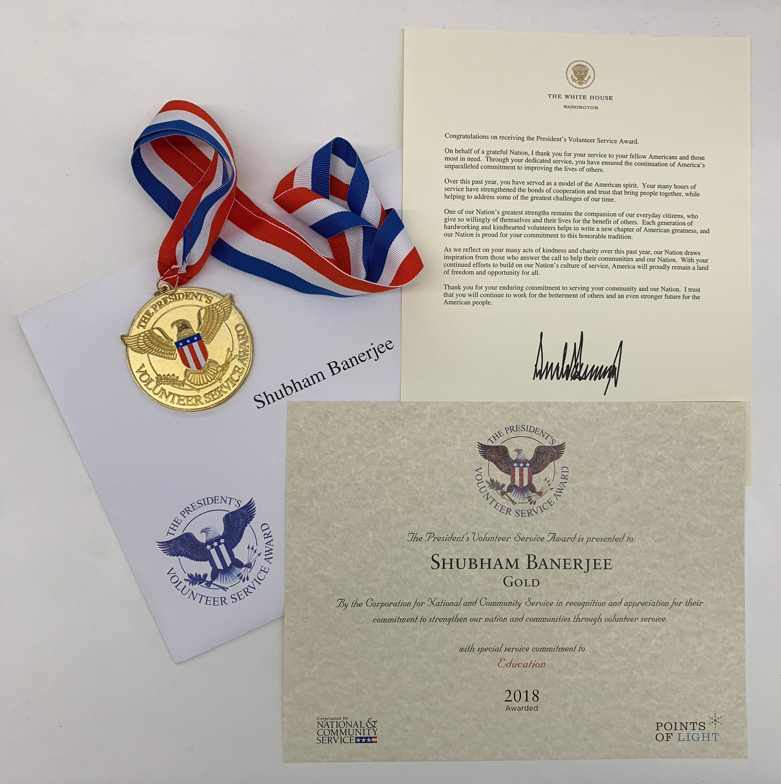 The President's Volunteer Service Award for 2018