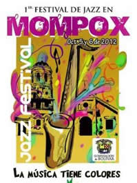 Afiche del 1er Festival de Jazz realizado en Mompox, entre octubre 5 y 6 de 2012