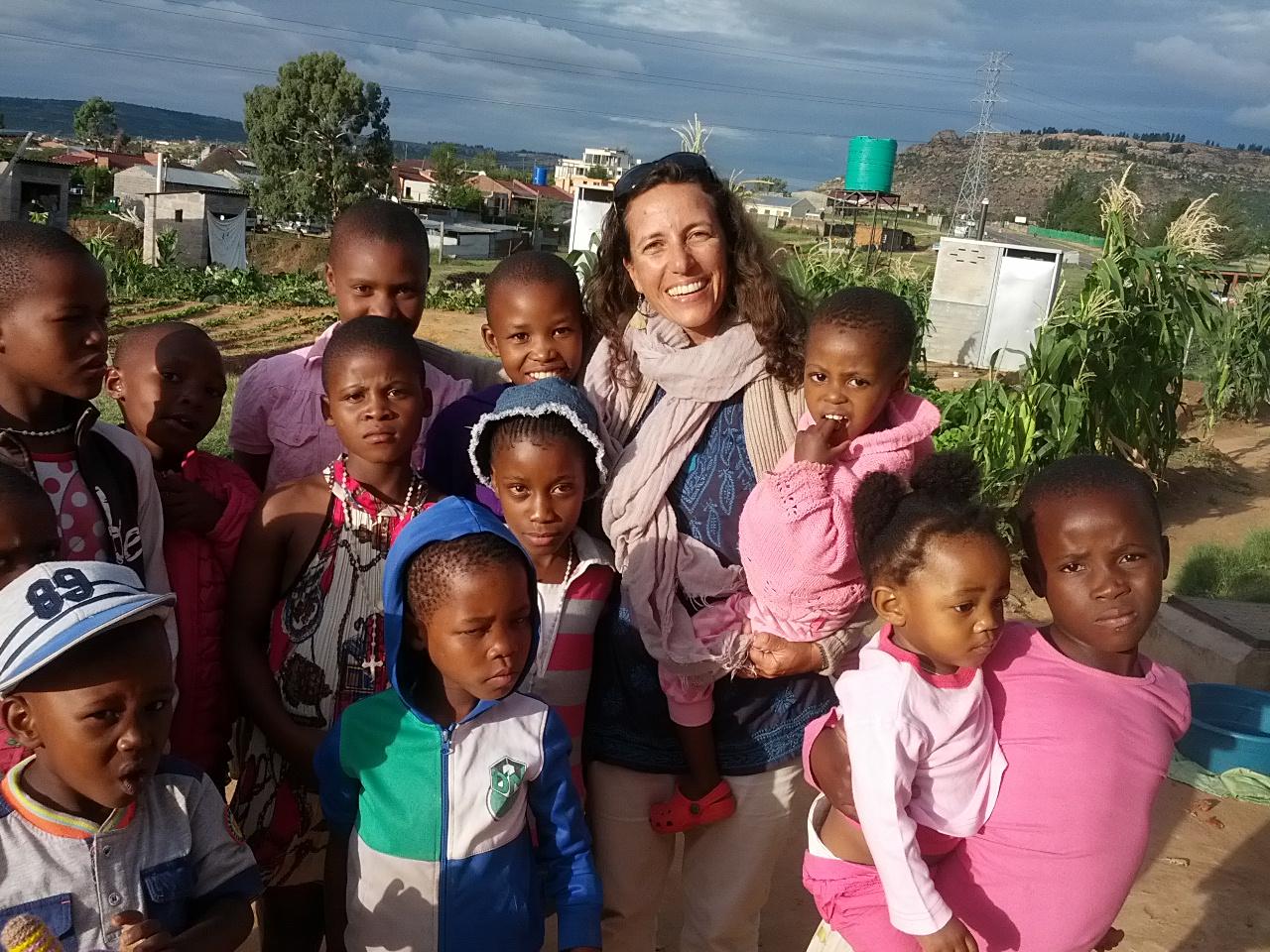 Daniela Gusman with the children