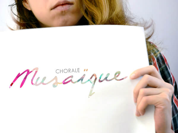 Be part of the music  It was important for new choir-kid-in-town Chorale Musaïque to reflect the diversity of its members, in song and in how they wanted to brand themselves. A successful brainstorming session with the all-female choir resulted in a brand identity that was as lyrical and fluid as they were! The hand-scripted typeface felt human, natural and timeless from the get-go. But it was the colourful mosaic application we introduced – and its limitless possibilities – that won them over.  musaique.ca