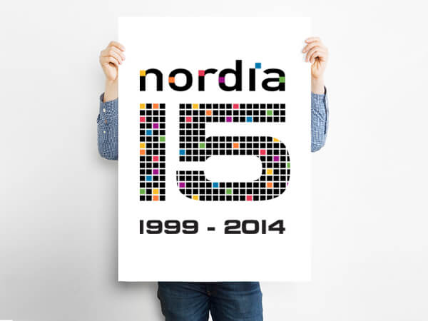Making it personal for 15 years  Confident in the visual punch of their company trademark, Nordia were looking for a commemorative logo that was just as impactful to mark their impressive 15 years in telecom. Our design solution was simple, spirited and full of personality – and gained an enthusiastic thumbs up from Nordia. In addition to the celebration logo,  we had a chance to evolve the Nordia brand  through a number of print, online and in-house promotional products.