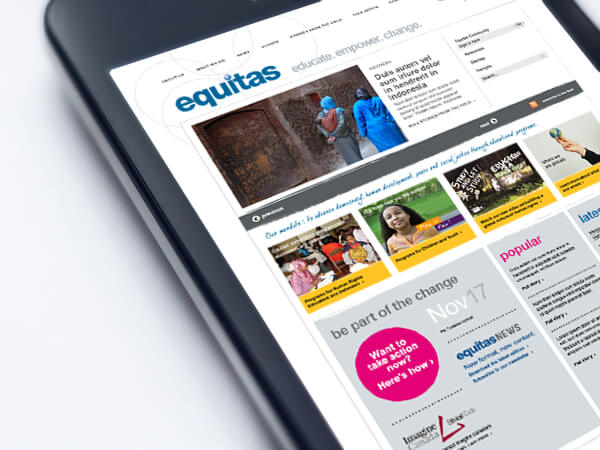 """The International Centre for Human Rights Education brings on their 2.0 website  Equitas' fresh, new approach to their brand was already underway for their Marketing and Communications print collateral, but their website was a problem. The old format wasn't cutting it anymore visually and in terms of functionality and we wanted to help Equitas fast track their vision. Enter 2.0. Equitas was very pleased with how we increased their online brand appeal and especially with the marked difference the new site was making in how they communicated their message.   """"As Chair of the Equitas Communications Committee, I suggested Kim for the redesign of our website. The result is fabulous.... She has a way of seeing the world that is exciting and compelling....""""  — Deborah Swann Hinton, Partner – Communication Strategy, Hinton :"""