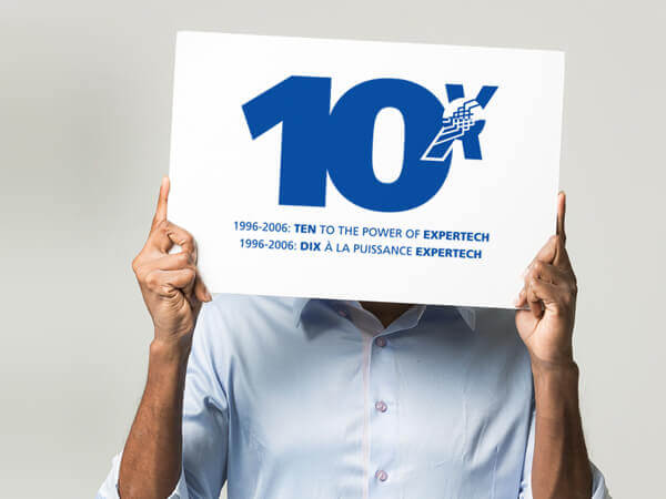 """Happy 10th  Major network infrastructure service provider Expertech was turning 10. To commemorate the milestone, we designed a cheeky anniversary logo:  """"10 to the power of Expertech"""" . In the spirit of the anniversary, Expertech was ready to  take another look  at their corporate brand and other communications products."""