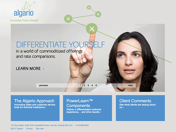 Algario extends their rebrand  Learning Development provider Algario was going in a new direction communications-wise.  Our re-design of their print, communications and presentation products  had been very successful for them – they knew they had to step up their game online to stay consistent. We re-designed their website with focused content, a more effective navigation system and kicky graphics to help communicate their messaging with impact.   algario.com