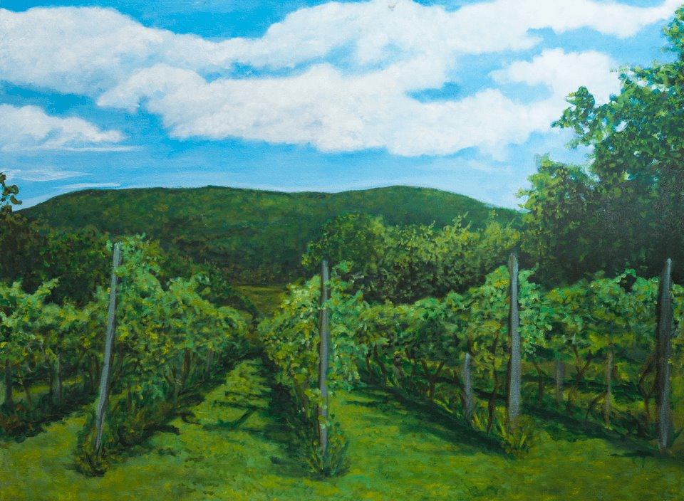 Painting by Laurie Kilgore of Bashakill Vineyards
