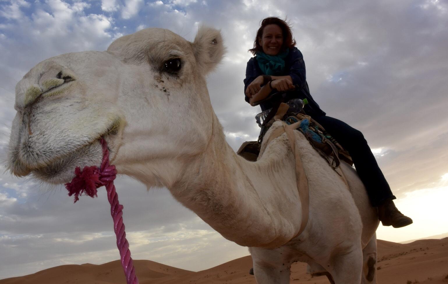 Ellen riding Romeo the camel, Morocco August 2017