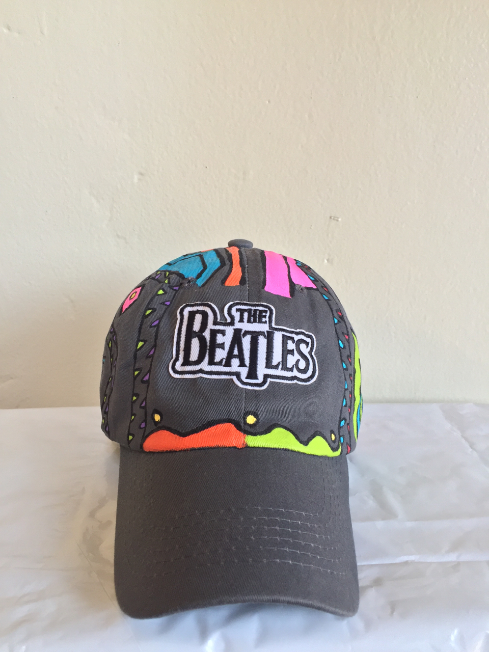 The Beatles hat... Is all paint and hand sewn patch & drawn no stencil  - Image By :Sweet Growth
