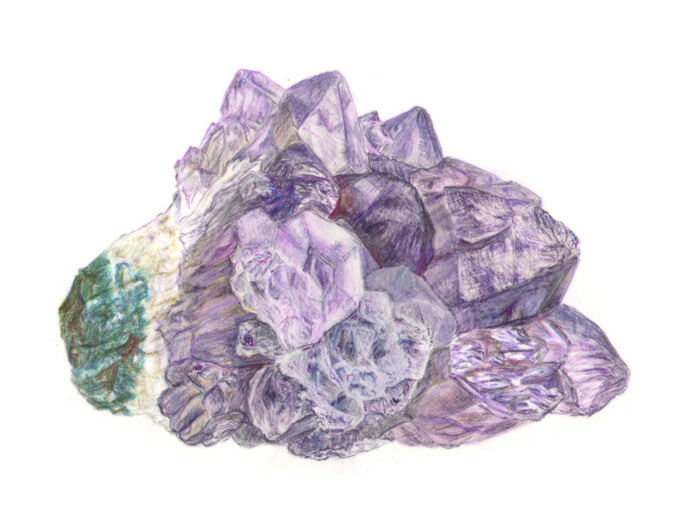 Amethyst in colored pencil