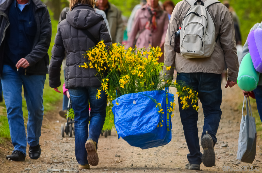 People purchasing a large bag of flowers.