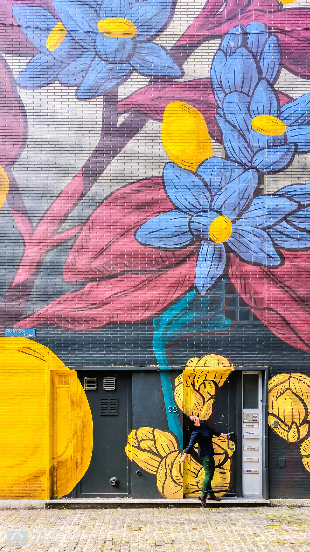 Au coin de Nieuwstraat et de Schipperstraat prône une œuvre unique proposée par  Pastel . A la fois architecte et peintre, il offre une combinaison harmonieuse entre la nature et les paysages urbains. De quoi faire tourner la tête de tous les passants.