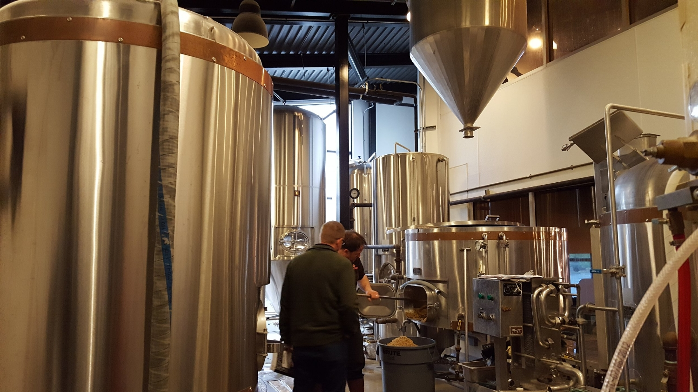 Brewing vats, brewery floor. Bonneville Brewing.