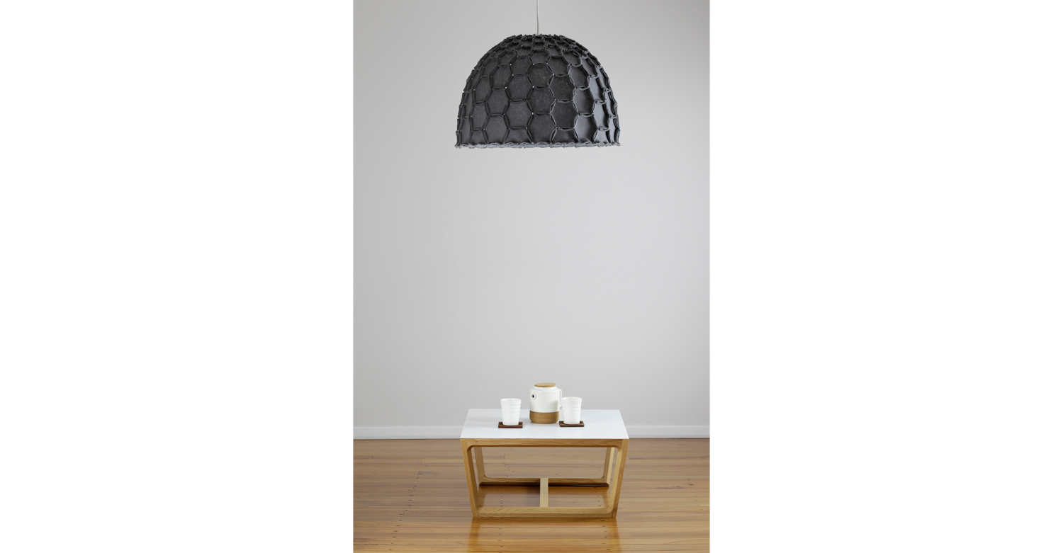 Nectar large half lampshade dark grey with chamfer coffee table - Designer Designtree.jpg
