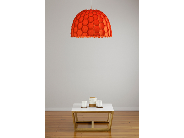 Nectar large half lampshade orange with chamfer coffee table - Designer Designtree.jpg