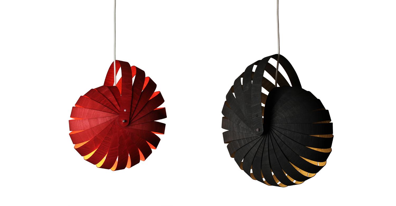 Nautilus lampshade small red & med black white background - Designer Designtree.jpg