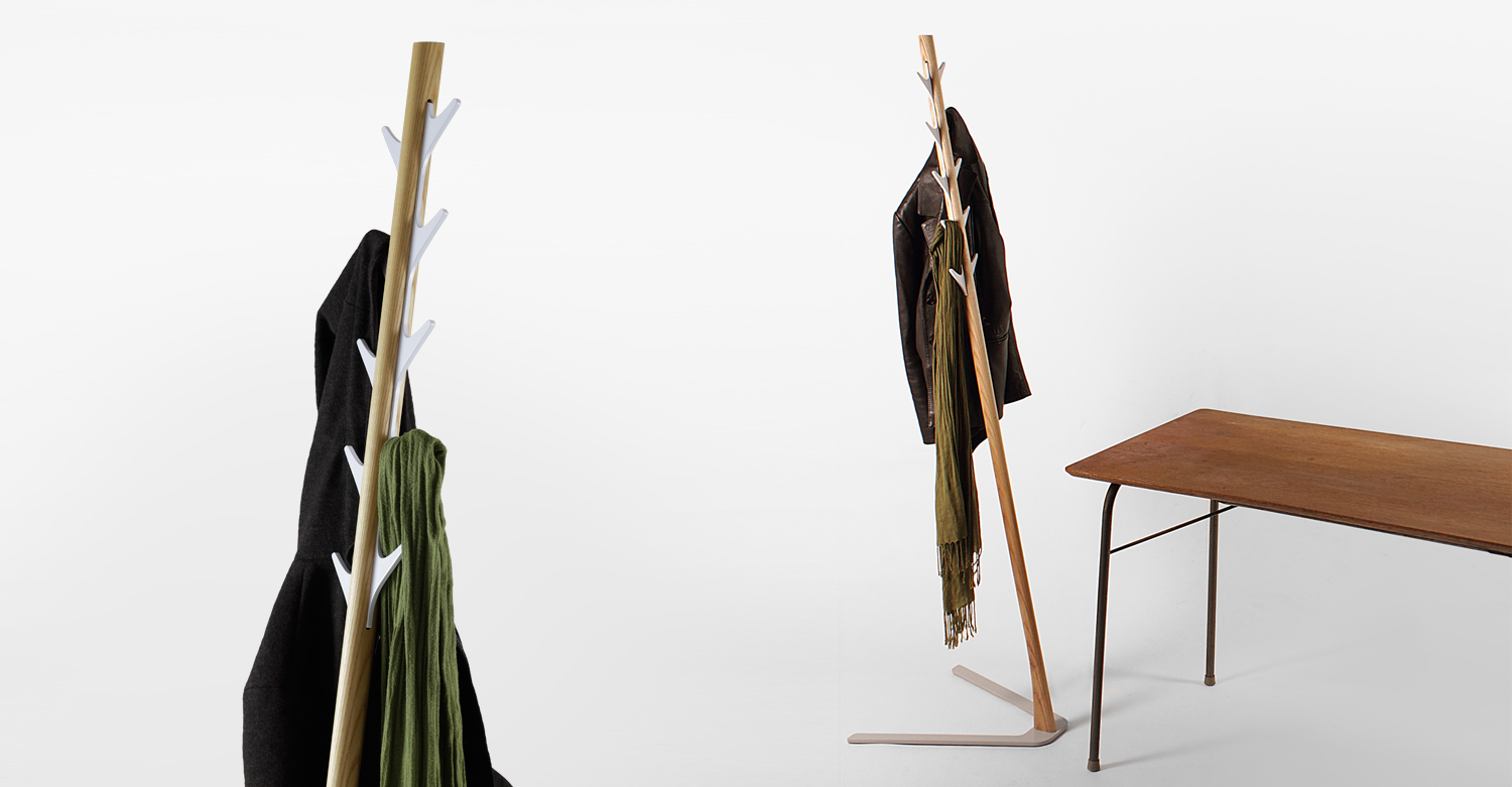 Frankie Coat Stand insitu with table and detail - Designer Designtree.jpg