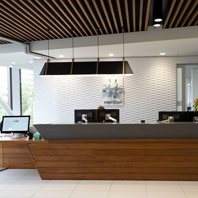 Thanks to the team at Planet Design for sharing this pic of the Frankie Pendant above the reception desk in their Meridian Power Office Project in Christchurch's CBD