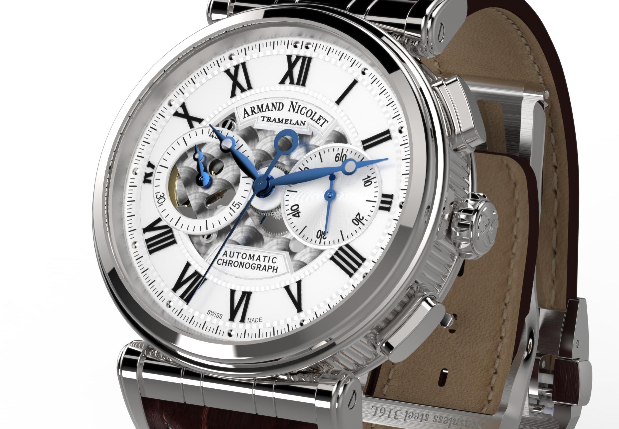 Armand Nicolet Arc Royal Chronograph A424AAA-AG-P974MR2