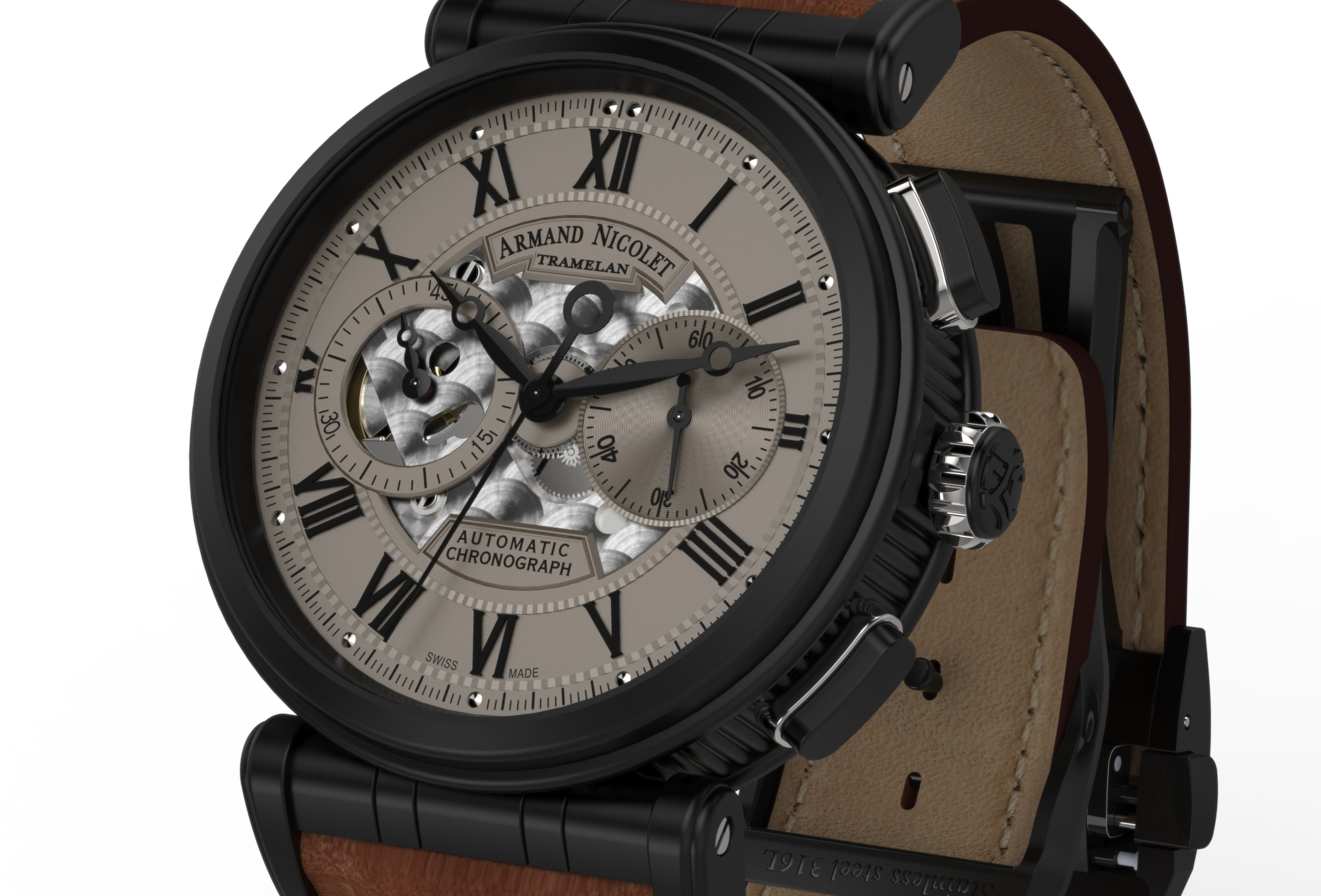 Armand Nicolet Arc Royal Chronograph A424AQN-GR-PK2420MR