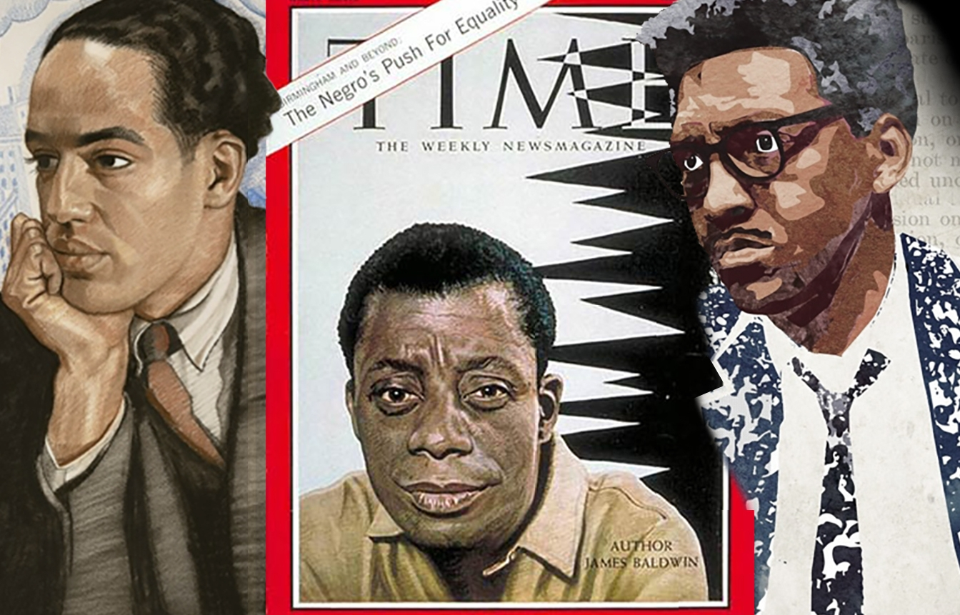 ILLUSTRATIONS OF   #  Y G B Q  LEGENDS, (L-R)  LANGSTON HUGHES ,  JAMES BALDWIN , &  BAYARD RUSTIN